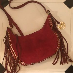 Michael Kors Rhea Grommet Crossbody Bag Red Suede